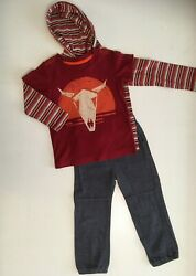 Lot Euc Tea Collection 3 Pc Outfit Striped Hoodie Bull Tee And Pants Size 2-3 3t