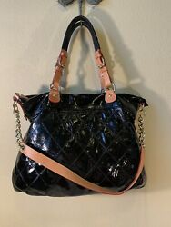 Cavalcanti Quilted Handbag Black Leather Satchel purse $71.10