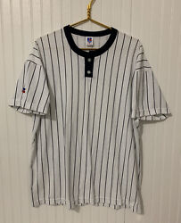 Vintage Russell Athletic New York Yankees White Striped Shirt Size Xl Nublend