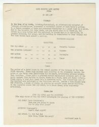 Tennessee Williams / Typescript Lord Byronand039s Love Letter Opera In One Act 1954