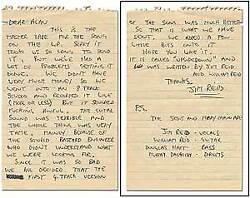 Jim Reid / Autograph Note Concerning The Jesus And Mary Chain's First Single