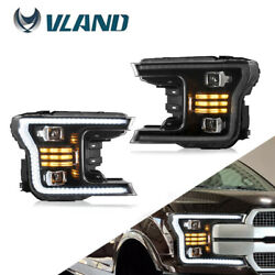 Led Headlights Sequential Indicator Pair For 2018-2020 F-150 F150 Black Lhandrh