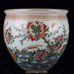 15.6collection Old China Antique Qing Dynasty Pastel Peach Pattern Jar