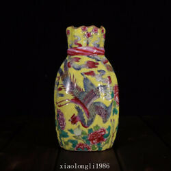 7.6collection Old China Antique Qing Dynasty Pastel Phoenix Pattern Vase