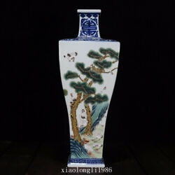 Collection China Old Antique Qing Dynasty Blue And White Crane Grain Fang Bottle