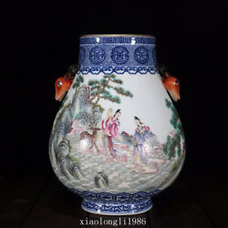 Chinaoldantique Qing Dynasty Blue And White Pastel Figure Pattern Deer Head Vase