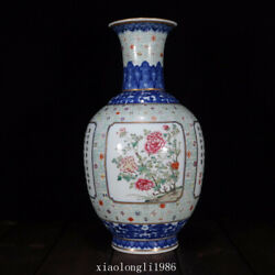 Rare China Old Antique Qing Dynasty Blue And White Pastel Flower Pattern Vase