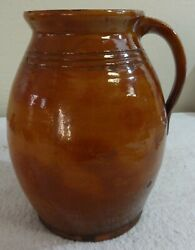 Antique Hugh English Redware Pottery Pitcher Molded Raised Relief Firing Marks