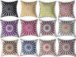Cushion Cover Indian Mirror Embroidered Vintage Cotton Pillow Covr 16 Set Of 10