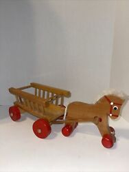Folk Art Vintage Horse Pull Cart Wagon With Wooden Horses Pull Toy