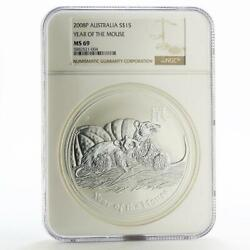 Australia 15 Dollars Year Of Mouse Lunar Series Ii Ms-69 Ngc Silver Coin 2008