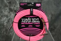Ernie Ball 18ft Neon Pink Right Angle Braided Instrument Guitar Cable
