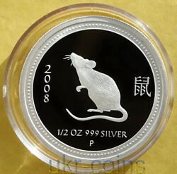 2008 Australia Lunar I Series Year Of The Mouse Rat 1/2 Oz Silver Proof Coin