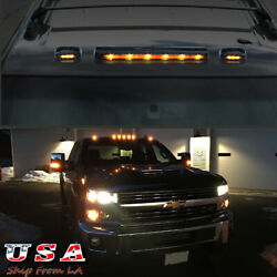3x Smoked Len Amber Led Roof Top Cab Running Light For Silverado 1500 2500 3500