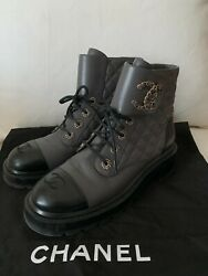 Leather Quilted Lace Up Boots W/ Logo Toe Cap Sold Out Rare Col - Eu 39