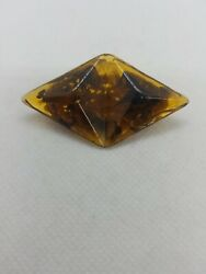 Vintage Signed Miriam Haskell Amber Colored Brooch/pin Ref3181