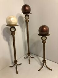 Wrought Iron Floor Candle Holders 15quot; 19quot; 23quot; c w sphere candles