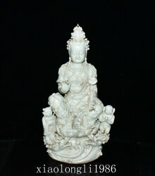 22.6old China Antique Yuan Dynasty Ching Carving Boy Guanyin Statue