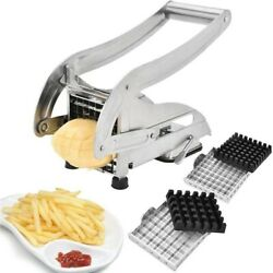 French Fry Cutter With 2 Blades Stainless Steel Potato Slicer Cutter Chopper