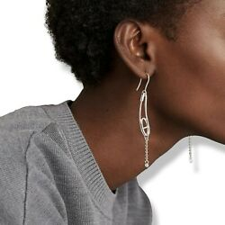Hermes [j20] Sterling Silver And Diamonds Chaine Dand039ancre Punk Earrings Small Model