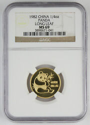 1982 China 1/4 Oz 999 Gold Panda Coin Ngc Ms69 Long Leaf Inauguration Issue Gem