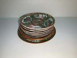 Antique Rare Collectible Beautiful Hand Painted 9 Plates Marked On Bottom