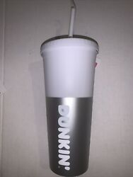 Dunkin Donuts Silver 24oz Acrylic Soft Touch Tumbler Travel Mug New Cup Rare