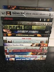 Lot Of 17 Dvds Hunger Games, Karate Kid Trilogy, Platoon, The Red Fern Grows