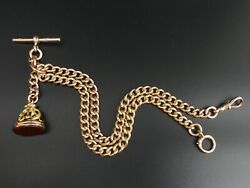 George V Antique 9 Ct Rose Gold Double Clip Curb Link Pocket Watch Albert Chain