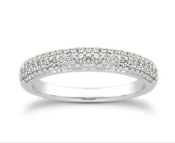Triple Row Micro-pave Diamond Eternity Engagement Wedding Ring In14k White Gold