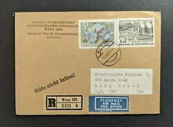 1965 Vienna Austria Registered Airmail Cover To Long Beach New York Usa