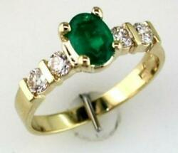 1.25ct Diamond Aaa Emerald 14kt Yellow Gold Oval And Round 5 Stone Engagement Ring