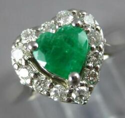 1.41ct Diamond And Aaa Emerald 14kt White Gold Heart Shape And Round Engagement Ring