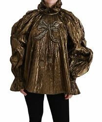 Dolceandgabbana Women Gold Blouse Polyamide Crystals Solid Exclusive Shirt It 40 S