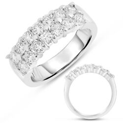 Wide 1.15ct Diamond 14k White Gold 3d Classic 2 Row Share Prong Anniversary Ring