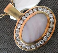 Large .89ct Diamond And Aaa Mother Of Pearl 18kt Rose Gold Sideways Oval Pendant
