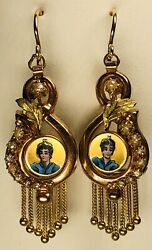 Antique 19th Century Victorian Portrait Enamel 14k Gold And Seed Pearls Earrings
