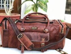 28 Cow Hide Leather Travel Menand039s Duffel Luggage Gym Overnight Vintage Weekend