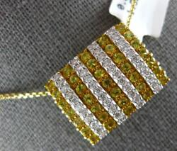 Large 2.05ct Diamond And Aaa Yellow Sapphire 14kt 2 Tone Gold 3d Multi Row Pendant