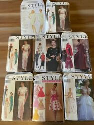 Lot Of 8 Vintage Style Sewing Patterns Dresses Cape Jacket Skirt Gown Free Ship