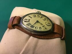 Vintage And Rare Exploding Number Longines Wire Lug Trench Era Watch In Silver