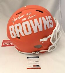 Cleveland Browns Jim Brown Signed Inscribed Full Size Authentic Amp Helmet Psa