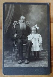 Antique Early 1900and039s Ohio American Man And Girl Photo Furniture