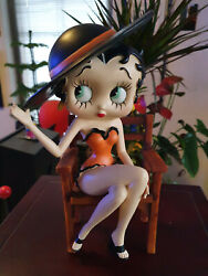Extremely Rare Betty Boop In Sexy Orange Lingerie Sitting In Chair Fig Statue