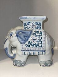 Vintage Chinese Porcelain Elephant Garden Statue Stool Plant Stand Ornament.