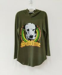 Life Clothing Co  Women's Sublime Lbc Dalmatian Graphic Green Hoodie Size Small