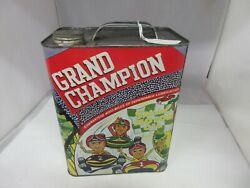 Vintage Advertising Grand Champion Motor Oil Two 2 Gallon Can Tin  A-218