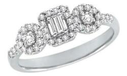 .46ct Diamond 14k White Gold 3d Round And Emerald Cut 3 Stone Halo Friendship Ring