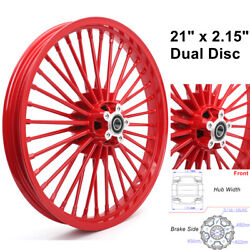 21 X 2.15 Front Wheel Fat Spokes Dual Disc For Dyna Super Glide Fxdl Fxdb Fxd