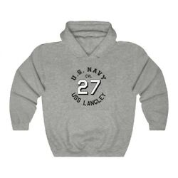 Uss Langley Cv 27 Ship Hull Number Wwii Styled Navy Hooded Sweatshirt